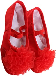 HEALLILY Ballet Dancing Shoes With Gauze Flower Leather Soles Dance Shoes For Kids Size 34 Red