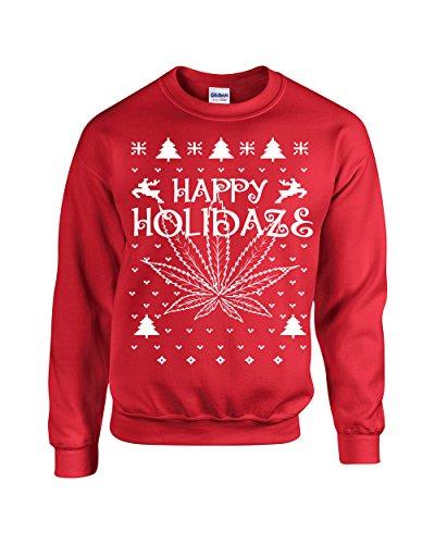 Jacted Up Tees Happy Holidaze Ugly Sweater Unisex Crew Sweatshirt - Large Red (B103)