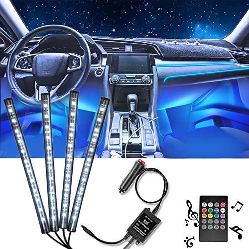 LED Innenbeleuchtung Auto, 4 Stück 48LEDs mehrfarbig, kfz innenraumbeleuchtung led mit Sound und kabelloser Fernbedienung, Kfz Ladegerät im Lieferumfang enthalten, DC 12 V