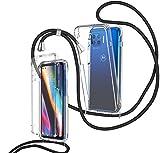 ZHXMALL Funda con Cuerda para Motorola Moto G 5G Plus,360 Grados Ajustable Collar Transparente Carcasa,Anti-Choque PC Duro Delantera TPU Bumper Trasera Cadena Cordón Case Protectora Cover,Negro
