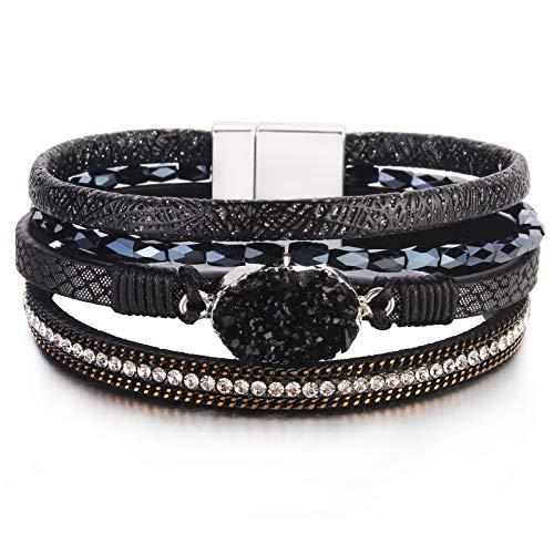 "Leather Wrap Bracelet Boho Cuff Bracelets Crystal Bead Bracelet with Magnetic Clasp for Women Handmade Layered Bracelet for Women Teens(7.7"", Black)"
