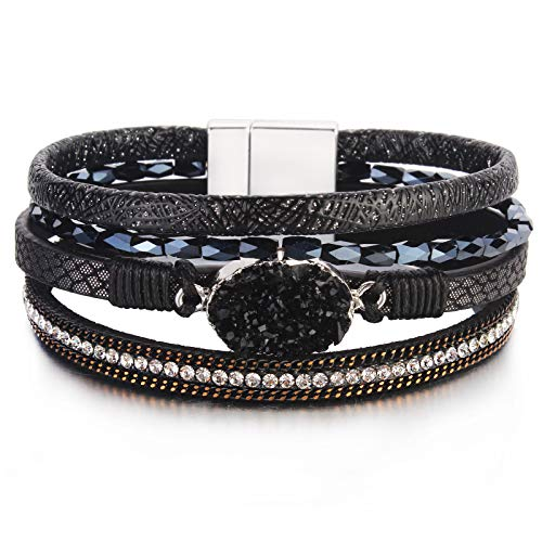 "Leather Wrap Bracelet Boho Cuff Bracelets Crystal Bead Bracelet with Magnetic Clasp for Women Handmade Layered Bracelet for Women Teens(7.7"", Black)"