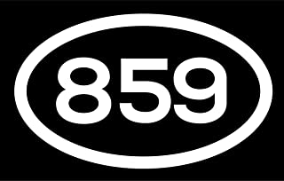 DHDM 859 Area Code Sticker Kentucky Lexington-Fayette Covington Florence City Pride Love | 5-Inches by 3-Inches | Premium Quality White Vinyl | ND587