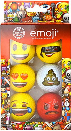 Emoji Erwachsene 6er Set Neuartige Fun Golfbälle, Multicoloured, 6