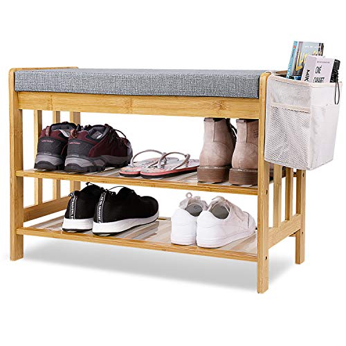"""Shoe Rack Bench, Entryway 3-Tier Shoe Organizer, Bamboo Storage Shelf with Cushion for Boots, Modern Stool for Bedroom Living Room 27.5"""" L x 12"""" W x 19.7"""""""