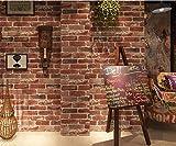ZSHBD Pegatina para Muebles Azulejos de pared vintage-marrón-rojo Papel Adhesivo para Muebles para Dormitorio/Sala/Aparador, a Prueba de Agua 0.53mx10m