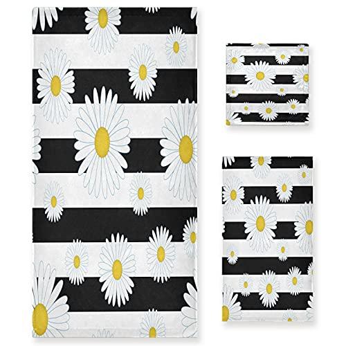 xigua Juego de toallas de baño de 3 piezas, color blanco y negro a rayas, toallas de baño, toallas de mano ultra suaves para spa, ducha, bañera, fitness, natación