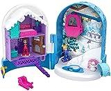 Polly Pocket Coffret Univers Le Chalet Enneigé avec 2 mini-figurines et accessoires, autocollants et 5 surprises cachées, jouet enfant, FRY37