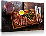 Kunstdruck auf Leinwand mit Grill-Rind-Motiv, Steak und