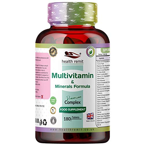 Multivitamin & Minerals | 26 Essential Mineral and Vitamin with Iron, Biotin, Zinc, D3, Turmeric | Supplement Tablets for Men and Women | 6 Months Supply | Made in The UK by Health Remit