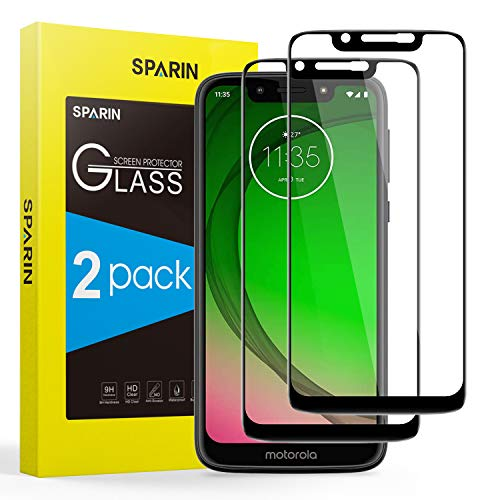 SPARIN  2 Pack Screen Protector Compatible for Moto G7 Play,  Bubble Easy Installation]  Full Coverage]  9H Hardness]  Anti-scratch] Tempered Glass Screen Protector