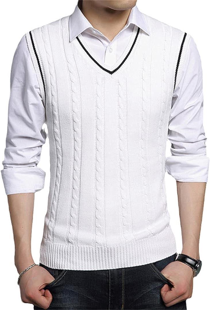 EGFIOKMJHT Men Sleeveless Knitted Vest Male V-Neck Pullover Male Slim Solid Casual Mens Sweaters Vest