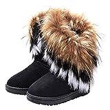 VFDB Women Mid Calf Boot Suede Faux Fur Tassel Outdoor Winter Snow Suede Flat Shoes Black 9