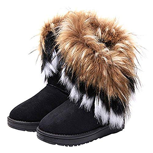 VFDB Women Mid Calf Boot Suede Faux Fur Tassel Outdoor Winter Snow Suede Flat Shoes Black 8.5