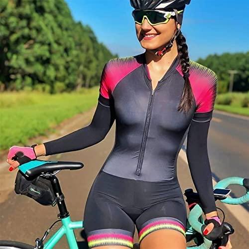 Frauen Triathlon Affe Radfahren Jumpsuit Langarm Hose Bike Jersey Sportanzug Enge dünne Fahrrad Haft (Color : Green, Size : XSmall)