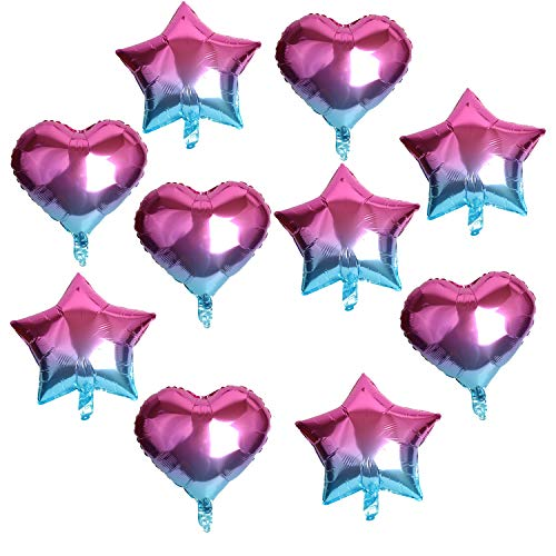 10 Pcs Purplish Blue Heart and Star-Shaped Happy Birthday Balloons 18 Inch Foil Balloon Mylar Balloon Happy Birthday Banner Balloons