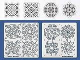 Aleks Melnyk #40 Metal Stencils/Celtic Knot/Wicca, Irish Stencils Kit 2 PCS (4 designs)/Templates for Painting, Wood Burning, Pyrography/Wicca Stencil, Viking Symbol, Protection Sigil Magick