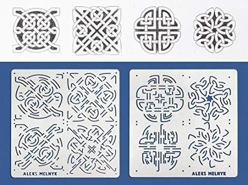 Aleks Melnyk #40 Schablonen/Metall Stencils Vorlagen for Painting/Keltischer Knoten/2 Stück/DIY Kunst Projekte/Stencils für Scrapbooking und Zeichnen/Brandmalerei Schablonen/Basteln
