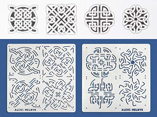 Aleks Melnyk #40 Metal Stencils/Celtic Knot/Wicca, Irish Stencils Kit 2 PCS (4 designs)/Templates for Painting, Wood Burning, Pyrography/Wicca Stencil, Viking Symbol, Protection Sigil Magick