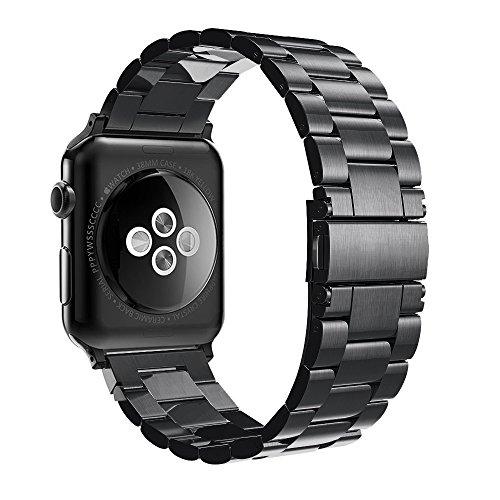 Simpeak Cinturino Compatibile per Apple Watch 38mm in Acciaio Inossidabile con chiusura pieghevole,Cinghia di Polso,Fibbia Compatibile Con Apple Watch 38mm di Series 1/2/3/4 Versione 2015 2016 2017