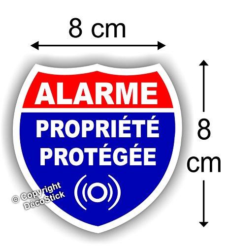 Sticker Alarme Propriété Protégée Autocollant (Lot de 4 Stickers)