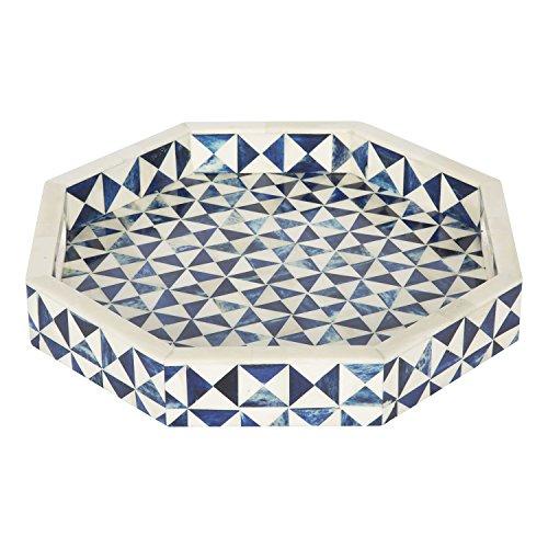 Plateau de service octogonal 12 x 12 cm - Décoration de table basse vintage fait à la main - Cadeaux de Thanksgiving