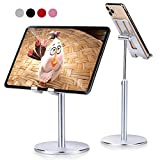 Phone Tablet Stand Holder, Aupek Height Angle Adjustable Desktop Cell Phone Stand, 360 Degree Rotating Aluminum Alloy Cradle Mount Dock for desk Compatible with iPhone/Mobile Phone/Tablet 4-10'-Silver