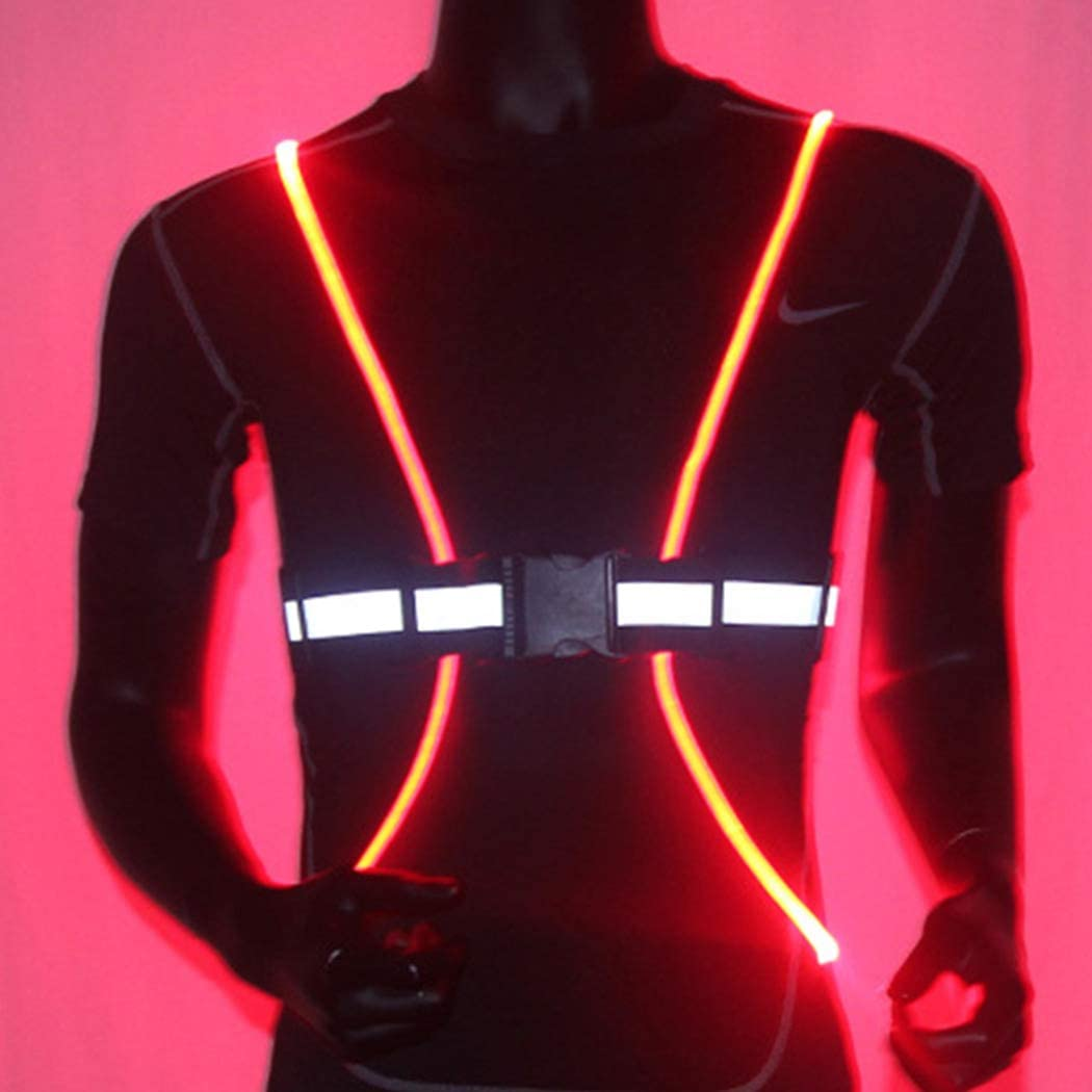 Bodiy Reflective Vest Gear Led Running Light Walking Sport Motorcycle Biking Safty Body Lights Belt for Women and Men