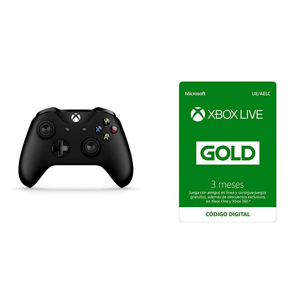 Microsoft - Mando Inalámbrico, Color Negro (Xbox One), Bluetooth + Suscripción Xbox Live Gold - 3 Meses: Amazon.es: Videojuegos