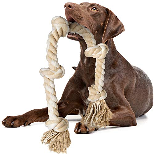 Fida Dog Rope Toys for Large/Medium Aggressive Chewers, Tough Rope Chew Toy, 3 Feet 5 Knots Indestructible Natural Cotton Rope, Tug of War Dog Pull Rope Teeth Cleaning