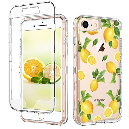 GUAGUA iPhone SE 2020 Case iPhone 8 Case iPhone 7 Case 4.7-inch Clear Lemon Fruits 3 in 1 Hybrid Hard PC Soft TPU Cover Shockproof Protective Phone Cases for iPhone 8/7/SE 2020 Transparent