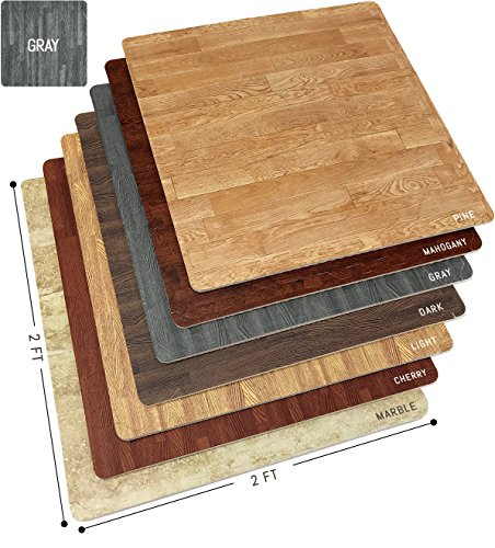 Sorbus Wood Floor Mats Foam Interlocking Wood Mats Each Tile 4 Square Feet 3/8-Inch Thick Puzzle Wood Tiles with Borders  for Home Office Playroom Basement (12 Tiles 48 Sq ft, Wood Grain - Gray)