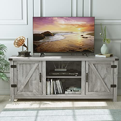 """HOMECHO Wooden TV Stand for TVs up to 65"""", Farmhouse Double Barn Door TV Cabinet with Storage, TV Console with Adjustable Shelves, Entertainment Center for Living Room, Grey"""