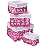 EVIDECO 8419150 Papierkorb, Aufbewahrungskorb, 4 Stück, 21,8 cm L x 18,8 cm B x 15,2 cm H, Pink/Weiß