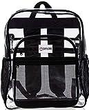 Clear Backpack For Work XL - Heavy Duty School Bookbag has TSA Lock - Key Holder - Bottle Opener - 2-WAY Zip - Inside, Outside Zip Pockets - Expandable Side Pockets - Transparent PVC - H18''xW14''xD8'