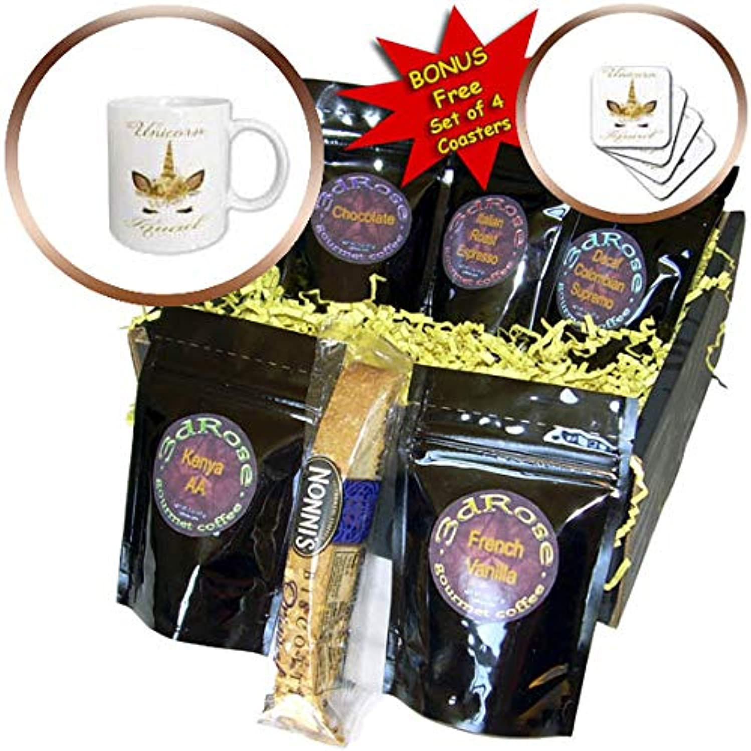 3dRose Anne Marie Baugh - Quotes, Sayings, and Typography - Unicorn Squad With A Pretty Image Of A Gold Unicorn Face - Coffee Gift Baskets - Coffee Gift Basket (cgb_297043_1)