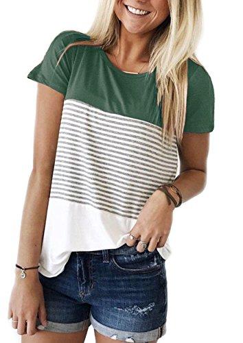 Yidarton Damen Sommer T-Shirt Casual Streifen Patchwork Kurzarm Oberteil Tops Bluse Shirt (Large, Grün)