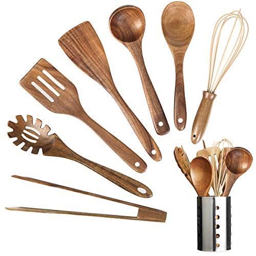 Ustensiles de cuisine en bois - Ustensiles de cuisine en teck biologique - Cuillères en bois de teck bio - Anti-adhésif - Pour ustensiles de cuisine (8)
