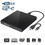 Lecteur de CD-ROM Externe, Type C et USB 3.0 Lecteur de graveur de DVD-RW avec Lecteur de Carte SD TF et clé USB, graveur de...