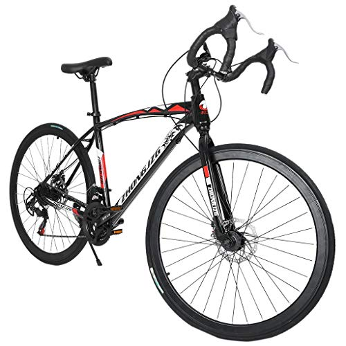 SAQIMA Mountain Bikes, Begasso Shimanos Aluminum Full Suspension Road Bike 21 Speed Disc Brakes, 700c Wheel Suspension Fork Rear Suspension Bicycles, Disc Brakes, Aluminum Frame