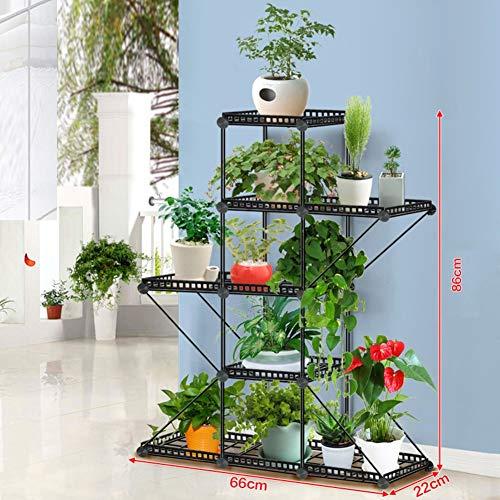 TPJJ Boden-ständigen Gartenregal, Hohle Multi-Schicht Blumentopf,blumenständer Schmiedeeisen,pflanzenregale,blumenregale-l