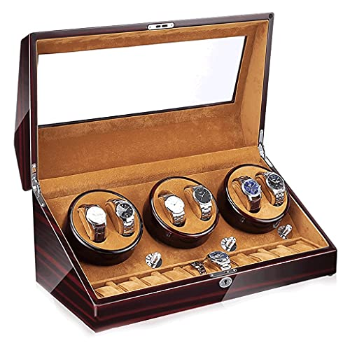 LRBBH Cajas Giratorias para Relojes 6 + 10 Ranuras Clase Alta Agitador Reloj Motor Pintura Piano Lujo Mostrar Caja Enrolladora De Reloj De Madera Fácil Acceso