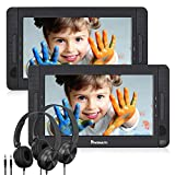 NAVISKAUTO 10.5' Dual Screen DVD/CD Player for Kids with 5-Hour Built-in Rechargeable Battery, Supports USB/SD Card Playback and Last Memory