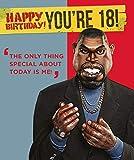 Biglietto di auguri per il 18° compleanno con immagine di sputare per lui, 18° compleanno, Kanye West, design di salvataggio emozionale, 154 x 184