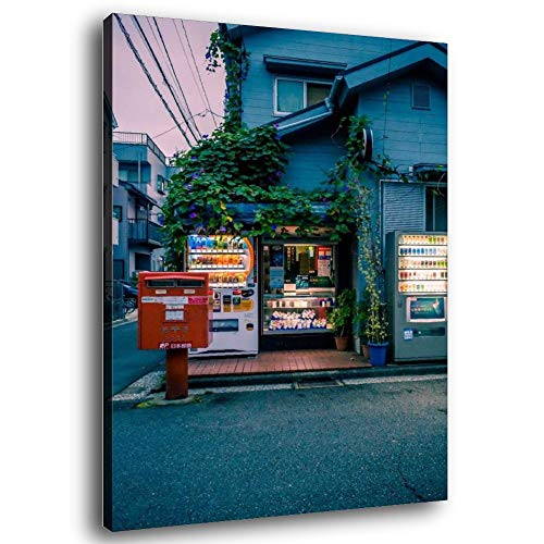 Póster de Japón con máquina expendedora de la calle y arte de la pared, impresión moderna de 40 x 60 cm