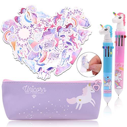 Konsait Unicorn Pencil Case Pen Bag with Unicorn Pens and Unicorn Stickers,Unicorn Makeup Bag Stationery Bag Cosmetic Bag Unicorn Gifts for Girls Unicorn Party Supplies