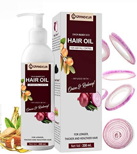 Grandeur Huile de cheveux Onion pour la chute et la croissance des cheveux avec extrait d'oignon rouge, huile d'argan, Bhringraj, huile d'hibiscus, huile de jojoba, vitamine E 200 ml