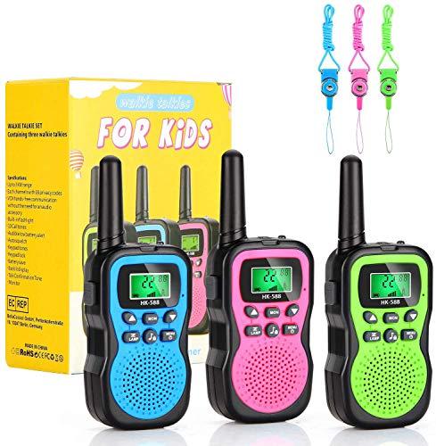 MIBOTE Walkie Talkie Kinder spielzeug, 3 km Reichweite und 8 Kanäle, 10 Klingeltöne mit eingebauter Taschenlampe und 3 Lanyards, ideal für Draußen