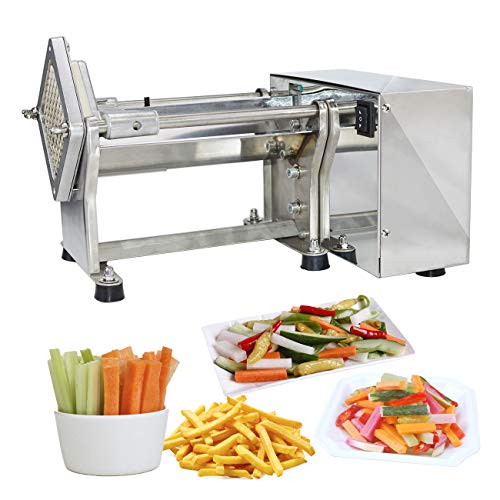 Li Bai French Fry Potato Cutter Machine Electric Cutting Slicer Chipper Commercial Automatic Industrial Kitchen Restaurant Use Stainless Steel 3 sizes of replaceable Blades