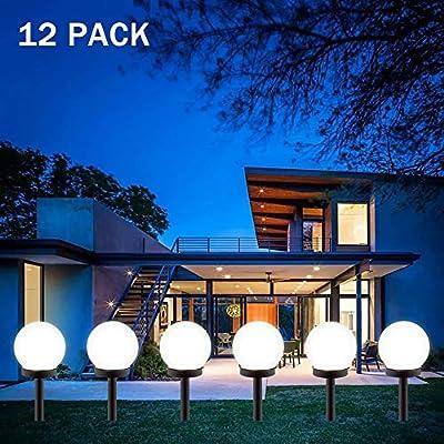 Gloriy LED Solar Garden Light Decorative,12 Pack Solar Lights Outdoor,Solar Globe Light Waterproof Outdoor Landscape Path Light White Light